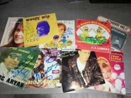 Lots Vinyles 45t (9pc) Avec Autographes - Discos De Vinilo
