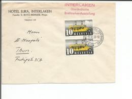 Suisse, Lettre Bureau Automobile, Cachet Linéaire INTERLAKEN Briefmarken Ausstellung, Hotel Jura (19.11.38) - Postmark Collection