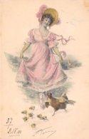 Illustrateur - N°61654 - M.M. Vienne - Jeune Femme Regardant Une Poule Et Ses Poussins - Vienne