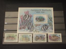 ANTIGUA - 1987 WWF PESCI 4 VALORI + BF - NUOVI(++) - Antigua E Barbuda (1981-...)