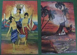 2 BATIK PAINTING ON MALAYSIA POST CARDS - Malaysia