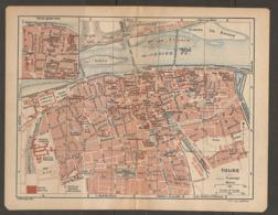 CARTE PLAN 1921 - TOURS VIEUX QUARTIER QUARTIER LASALLE ECOLE DE MEDECINE ILE AUCARD CASERNE D'ARTILLERIE - Topographical Maps