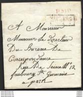 Mayenne-Lettre-Marque Linéaire Rouge P51P CHATEAU GONTIER (29*13)-Pour Paris - Marcophilie (Lettres)