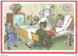 Carte Postale Chats Humanisés Toute La Famille à La Maternité Autour De Maman Trés Beau Plan - Cats