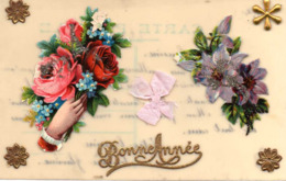 Bonne Année, Mains Tenant Des Fleurs, Rubans Découpis, Célulloïd - Flowers