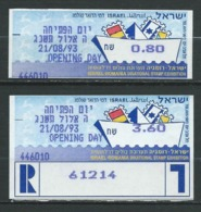 ISRAËL 1993 . Timbres D'Affranchissement N°s 6 Et 7 . Neufs ** (MNH) Autoadhésifs . - Vignettes D'affranchissement (Frama)