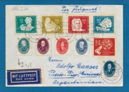 1951 DDR DEUTSCHE DEMOKRATISCHE REPUBLIK STRALSUND TO ARGENTINA + DEUTSCHE POST - DDR