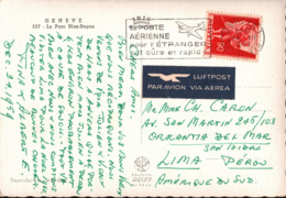 ! 1959 Ansichtskarte Aus Genf, Geneve Nach Lima Peru, Perou - Switzerland