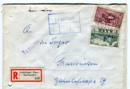 Saarland 1956 45 F Saar V Und 5 F Saar V Auf Einschreiben Aus Völklingen (Saar)-Geislautern -> Erhaltung (11-162) - 1947-56 Ocupación Aliada