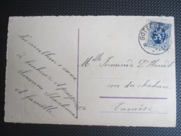 PK Verstuurd Uit Zottegem Naar Tamise - Viooltjes - 1929-1937 Heraldic Lion