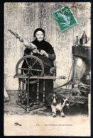 La Fileuse Nivernaise Belle Scène Avec Chien Et Cheminée  CAD Cad Atun 11 07 1908 + Couches Les Mines  Voir Explications - Kunsthandwerk
