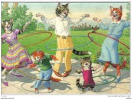 Carte Postale Chats Humanisés  Habillés  Toute La Famille Fait Du Cerceau  Trés Beau Plan - Cats