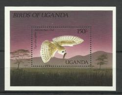 UGANDA  1987  WESTERN BARN OWL  MS   MNH - Eagles & Birds Of Prey