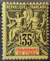 ÉTABLISSEMENTS DE L'INDE 1900/07 - MLH - YT 17 - 35c - Indien (1892-1954)