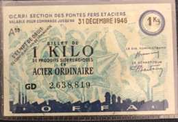 France, Libération, Billet De 1 Kilo De Produits Sidérurgiques En Acier Ordinaire 31 Décembre 1946 - Bons & Nécessité