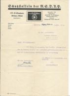 LETTRE ALLEMANDE - SCHUSSFTAFFELN DER N.S.D.U.P. - 1943 - COLMAR - MUNSTER - ALSACE - 1939-45