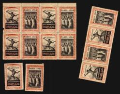 France Jeux Olyimpiques 1924  Vignette Olypmpic Games Poster Stamp Cinderella Lot In Blocks  Original Period (>15) - Erinofilia