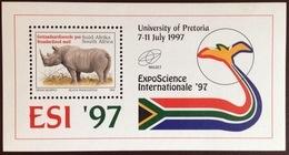 South Africa 1997 Expo Rhinoceros Minisheet MNH - Rhinozerosse