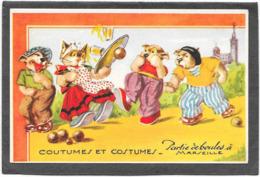CHATS Humanisés - MARSEILLE Partie De Boules - COUTUMES ET COSTUMES - Cats