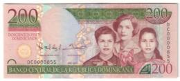 Dominican Republic 200 Pesos 2013 Low S/N 0000855 UNC - Dominicana