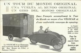 Un Tour Du Monde Original , Le VELOCAR & Sa Remorque Sont Construits Chez M. MOCHET à PUTEAUX - Cartes Postales