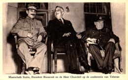STALIN / ROOSEVELT / CHURCHILL - TEHERAN CONFERENCE - 28 NOVEMBER 28 - 1943 -  RAPHAEL TUCK & SONS LTD. - RRR ! (ac998) - War 1939-45