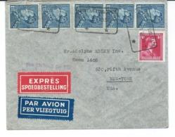 Enveloppe En Expres Avec 5X Nr 430 Et 1X Nr 428 - D'anvers Antwerpen Vers New-york - 1936-51 Poortman