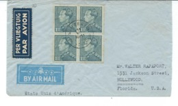 Enveloppe Avec  Nr 430 En Bloc De 4 - De Wetteren Vers Hollywood - 1936-1951 Poortman