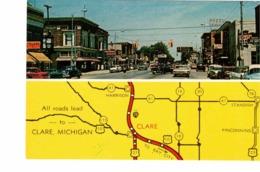 CLAIRE, Michigan, USA, Main Street & Map, 1962  Chrome Postcard - Etats-Unis