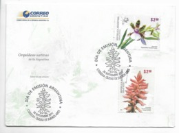 ARGENTINA 2011 NATIVE ORCHIDS FLOWERS SET OF 2 VALUES ON FIRST DAY COVER FDC SPD SPECIAL CANCEL - FDC