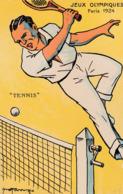 """CPA:SIGNÉ ROONY """" JEUX OLYMPIQUES PARIS (75) 1924 """" TENNIS """" - Jeux Olympiques"""