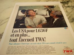 ANCIENNE PUBLICITE LES USA ET TWA USA 1966 - Advertisements