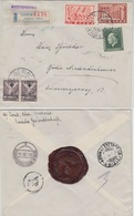 Griechenland - 10 Dr. Freimarke U.a. Einschreibebrief Athen - Berlin 1938 Siegel - Greece