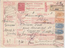 Italien - 7,50 L. Ganzsache Paketkarte Meretto De Tomba N. FRANKREICH 1937 - Italia