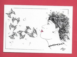 CPM Illustrateur Jean Luc Perrigault. Commemoration Du Bicentenaire De La Revolution. Femme ,papillons. - Illustrators & Photographers