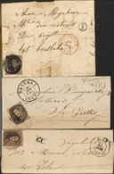 3 Briefjes Tussen 1858 En 1862 , 2 Met Postbus Letter En 1 CC - Bélgica