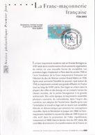Notice Philatélique Premier Jour, La Franc-Maçonnerie Française,  28 Juin 2003 - Documents De La Poste