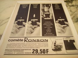 ANCIENNE PUBLICITE BRIQUET COMETE  RONSON 1966 - Raucherutensilien (ausser Tabak)