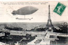 """PARIS (75)  Le Dirigeable """"La Ville De Paris"""" Passant Devant La Tour Eiffel - Tour Eiffel"""