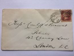 GB Victoria 1868 Cover Rotherham To London Tied With Penny Red Plate 81 - 1840-1901 (Victoria)