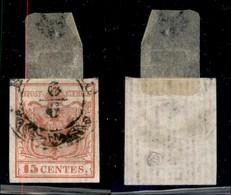 ANTICHI STATI ITALIANI - LOMBARDO VENETO - 1850 - 15 Cent (3) Usato - Filigrana E Linee Verticali - Sellos