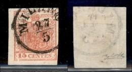 ANTICHI STATI ITALIANI - LOMBARDO VENETO - 1852 - 15 Cent (6) Usato - Carta Quadrillè - Clichè Difettoso In Basso A Sini - Stamps