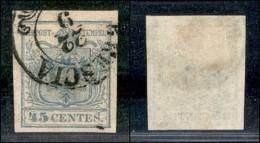 ANTICHI STATI ITALIANI - LOMBARDO VENETO - 1855 - 45 Cent (12d - Oltremare Grigio Chiaro) Usato A Brescia - Cert. AG (2. - Ohne Zuordnung