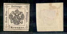 ANTICHI STATI ITALIANI - LOMBARDO VENETO - 1858 - Segnatasse - Ristampe - 1 Kreuzer (R31) - Appena Corto In Basso A Dest - Ohne Zuordnung