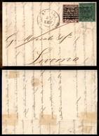 ANTICHI STATI ITALIANI - MODENA - 5 Cent (7b) Errore ENT + 10 Cent (2) - Lettera Da Carrara A Livorno Del 22.9.53 - Dien - Sellos
