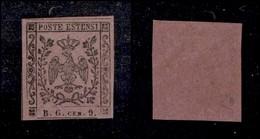 ANTICHI STATI ITALIANI - MODENA - 1853 - 9 Cent Violetto Lillaceo (2a - Segnatasse Giornali) Nuovo Con Gomma Originale - - Ohne Zuordnung