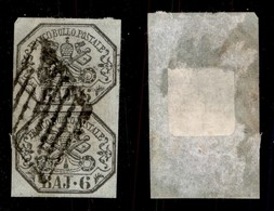 ANTICHI STATI ITALIANI - STATO PONTIFICIO - 1852 - 6 Bai (7) - Coppia Verticale Usata (325) - Sellos