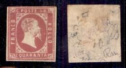 ANTICHI STATI ITALIANI - SARDEGNA - 1851 - 40 Cent (3) Appena Corto In Alto A Sinistra - Gomma Originale - Ottimo Aspett - Sellos