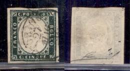 ANTICHI STATI ITALIANI - SARDEGNA - 1857 - 5 Cent (13Ab - Verde Mirto Scuro) - Usato A Torino 27.5.57 - Cert Diena (1400 - Sellos