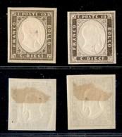 ANTICHI STATI ITALIANI - SARDEGNA - 1861 - 10 Cent (14C) - Due Colori Diversi - Gomma Originale - Un Pezzo Con Assottigl - Sellos